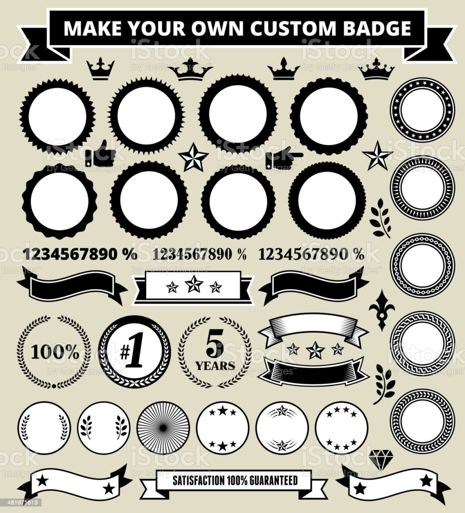 Custom Round Badges on Black and White Grunge Texture vector art illustration