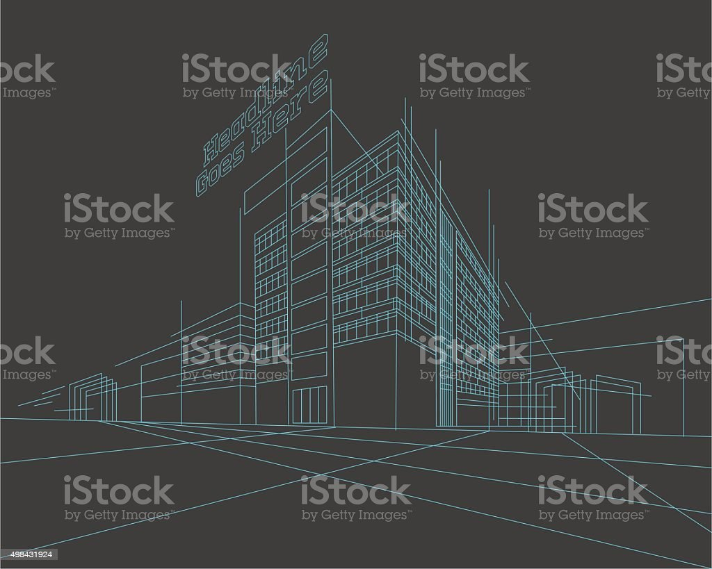 Perspective 3d Wireframe of building vector art illustration