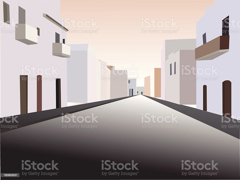 perspective view of a road with houses at sunset stock photo