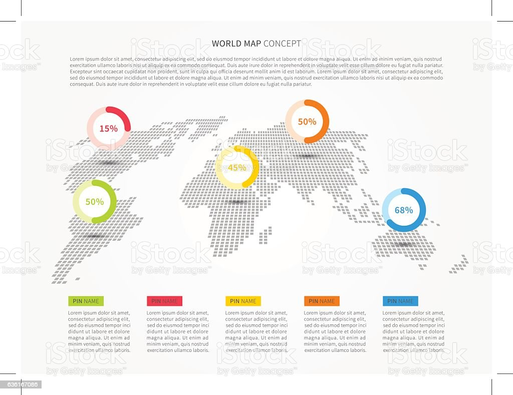 Perspective world map infographic with colorful pointers vector perspective world map infographic with colorful pointers vector illustration illustracion libre de derechos libre de derechos gumiabroncs Gallery