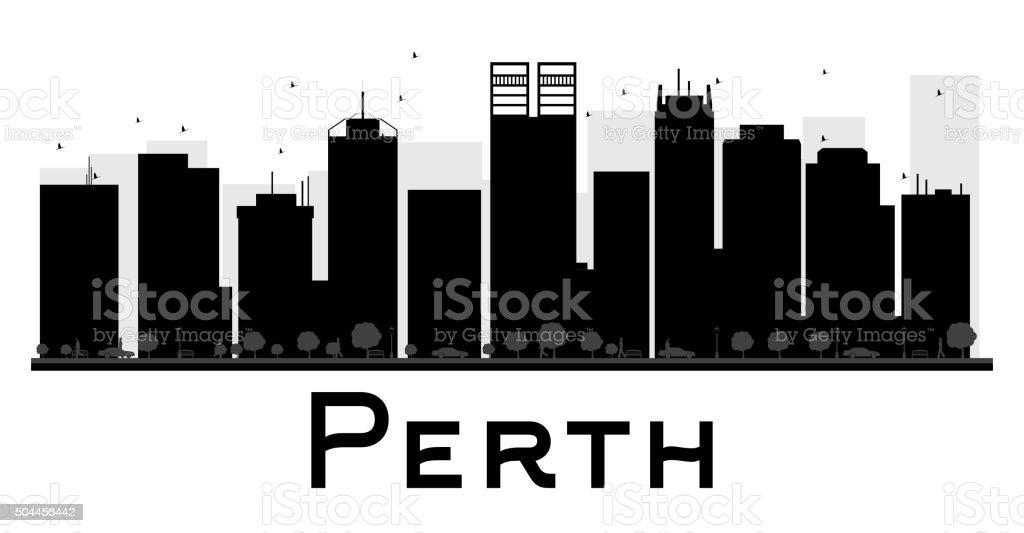 Perth City skyline black and white silhouette. vector art illustration