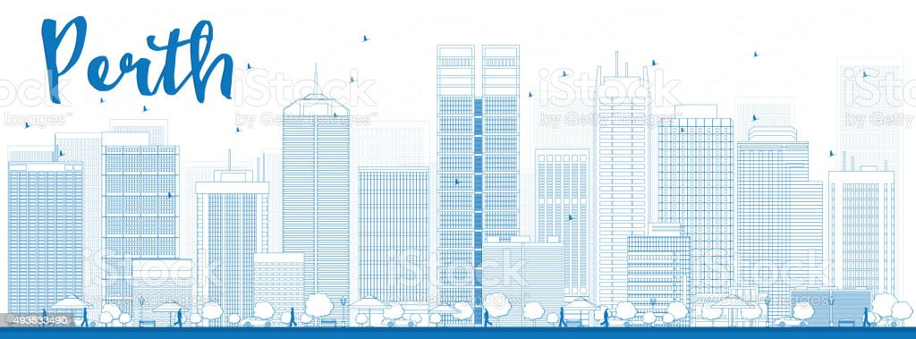 Perth skyline with blue buildings. vector art illustration