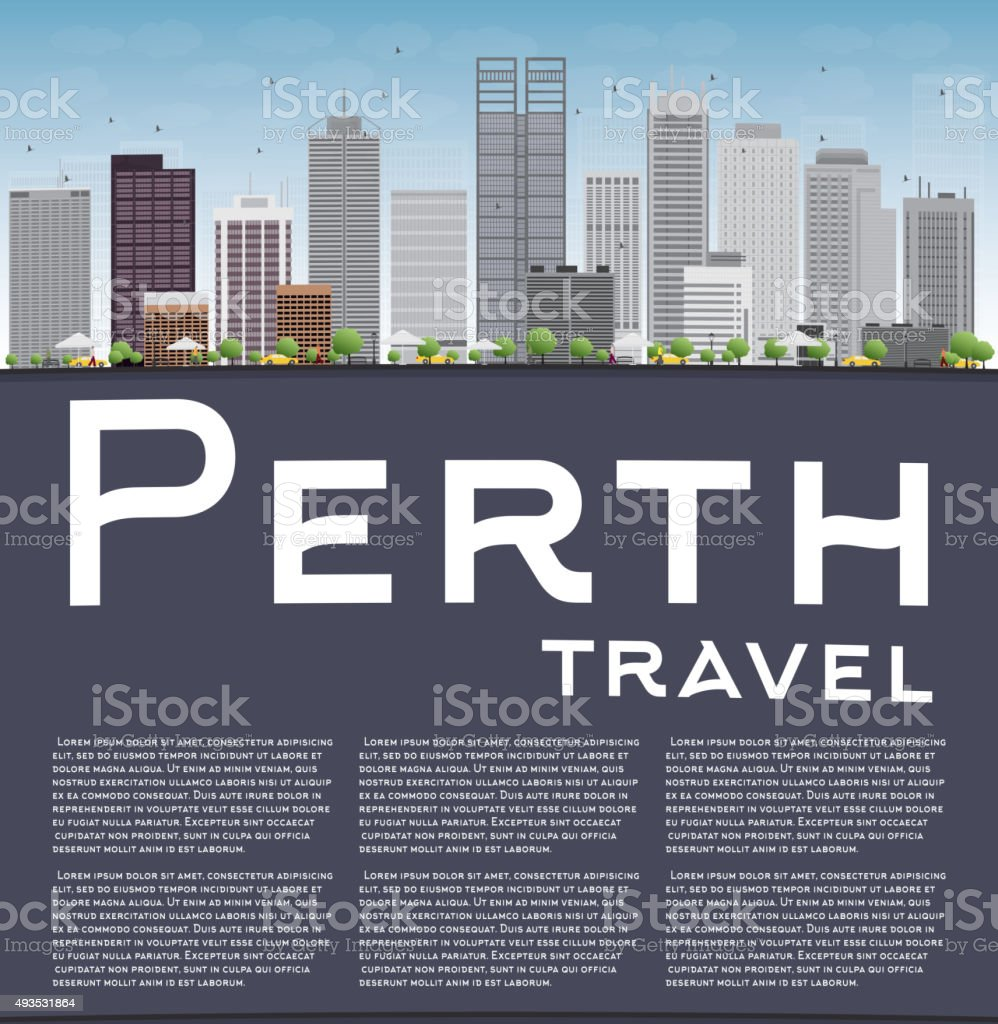 Perth skyline with grey buildings, blue sky and copy space vector art illustration