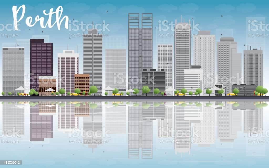 Perth skyline with grey buildings, blue sky and reflection vector art illustration