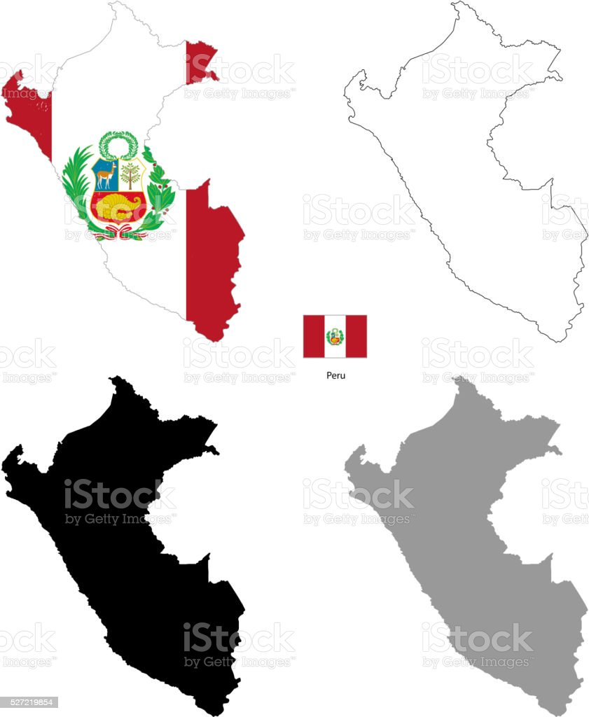 Peru country black silhouette and with flag on background vector art illustration