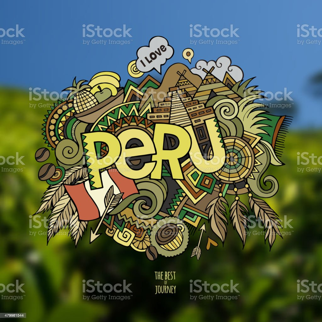 Peru hand lettering and doodles elements background. vector art illustration