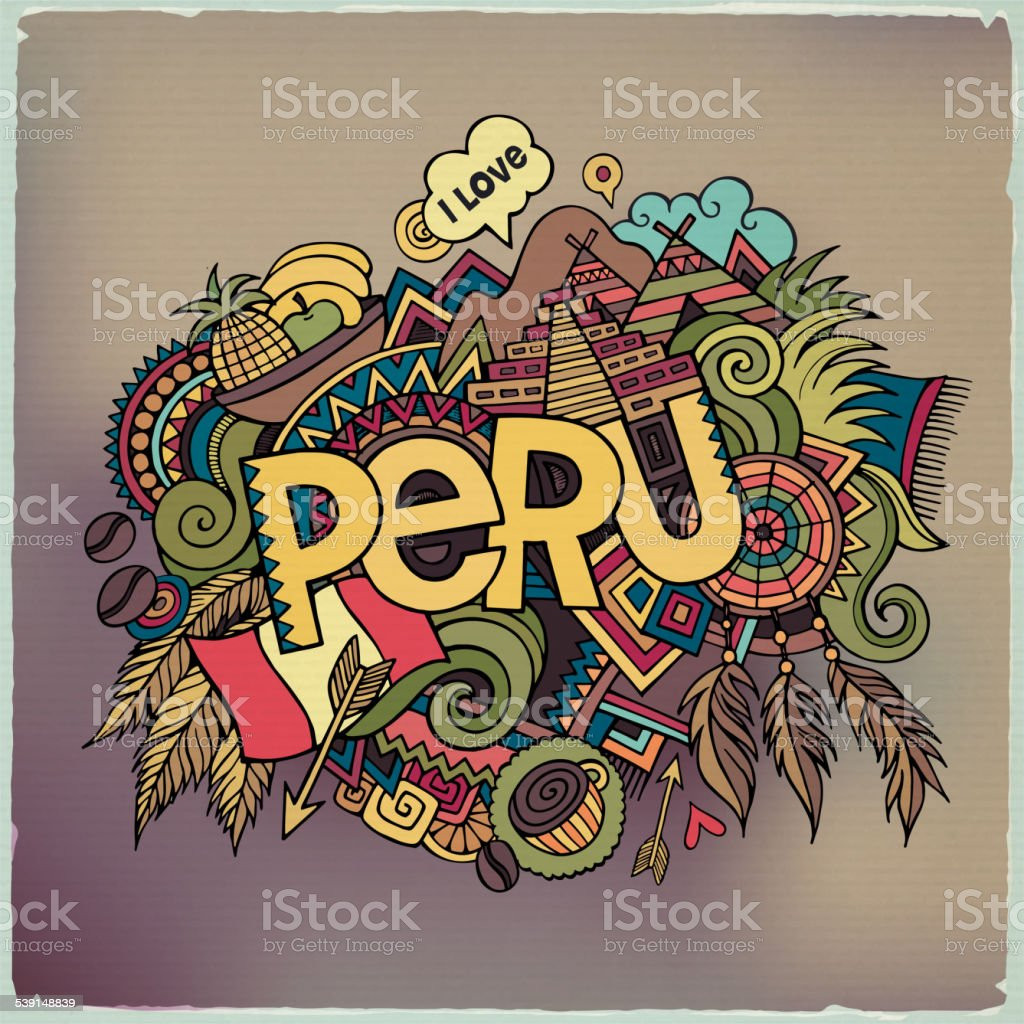 Peru hand lettering and doodles elements background vector art illustration