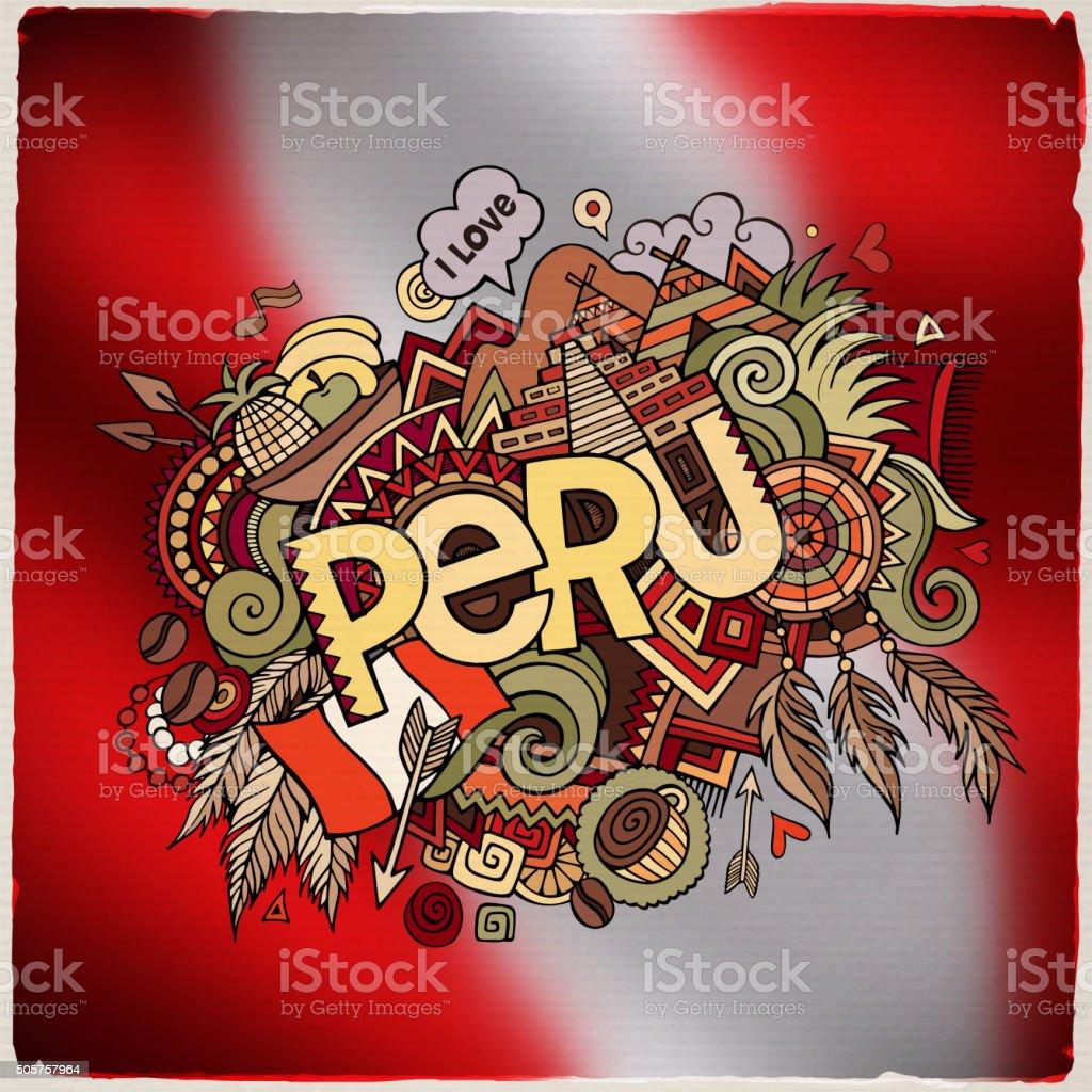 Peru hand lettering and doodles elements vector art illustration