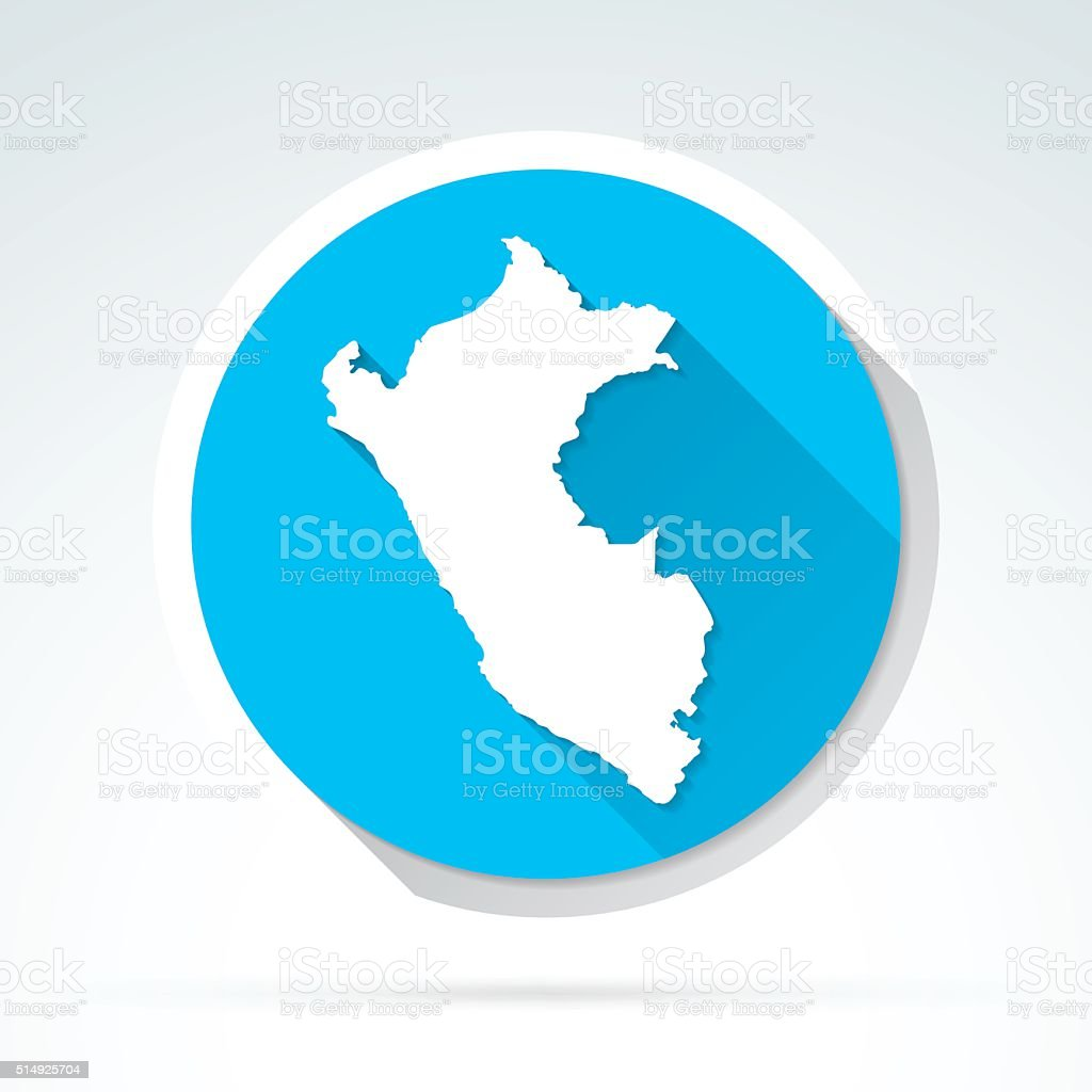 Peru map icon, Flat Design, Long Shadow vector art illustration