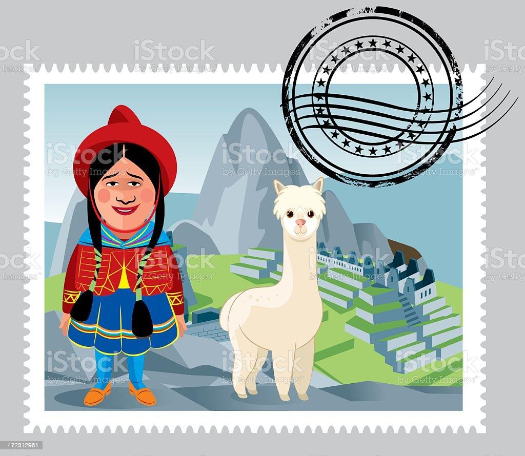 Peru Stamps vector art illustration