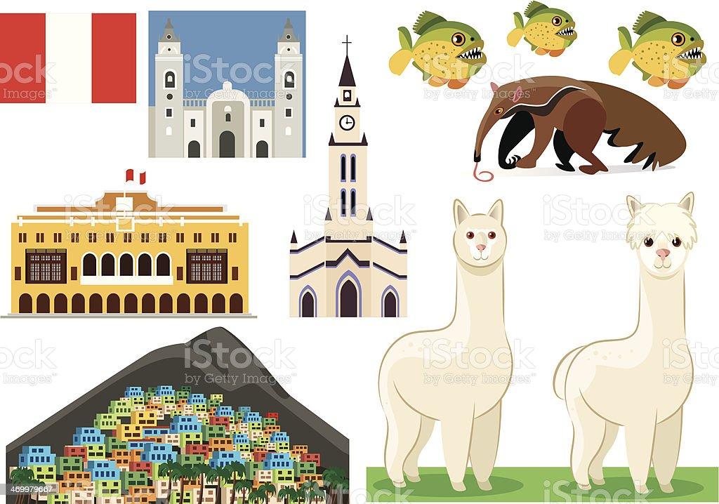 Peru symbols vector art illustration