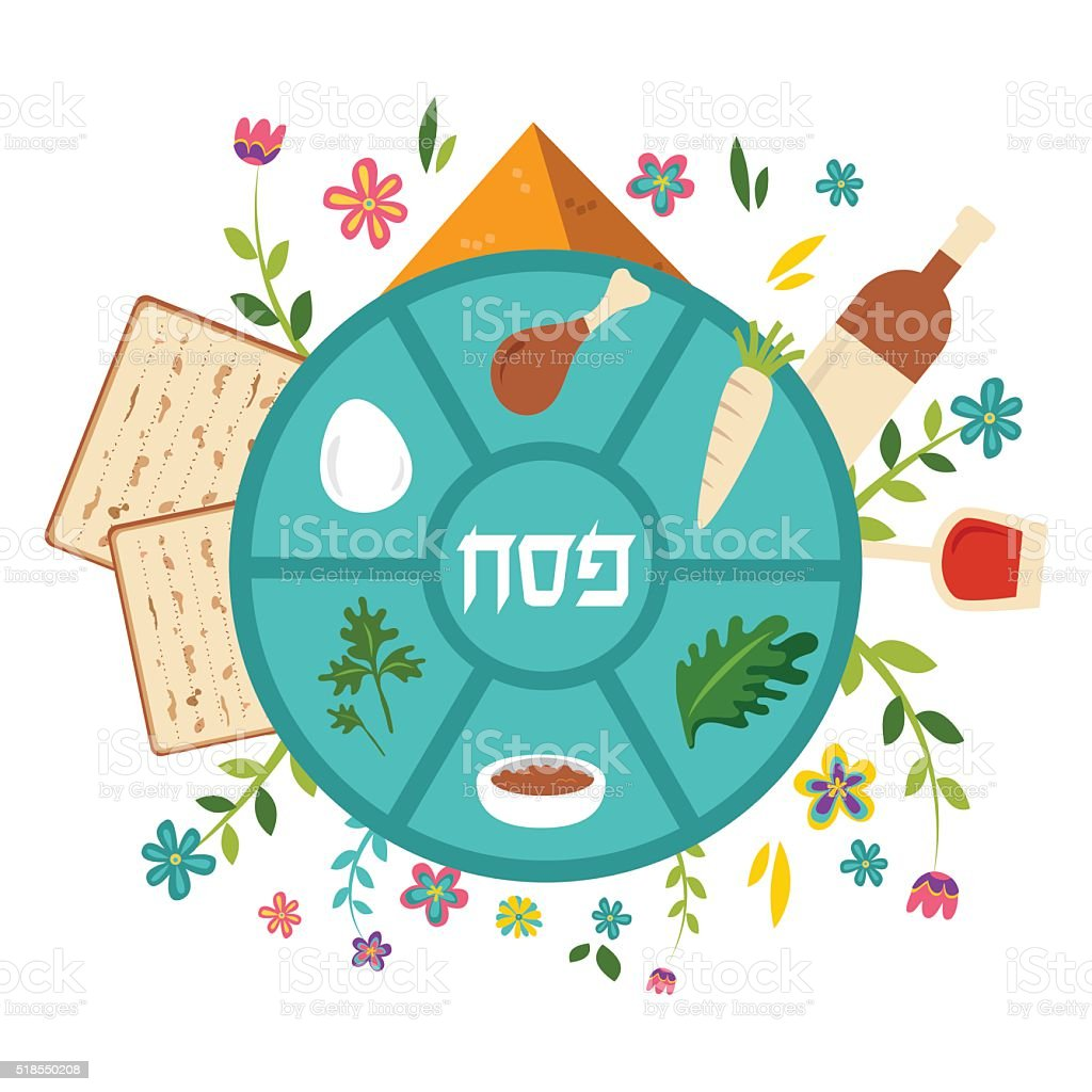 Pesach seder plate with floral decoration, Passover in Hebrew the vector art illustration