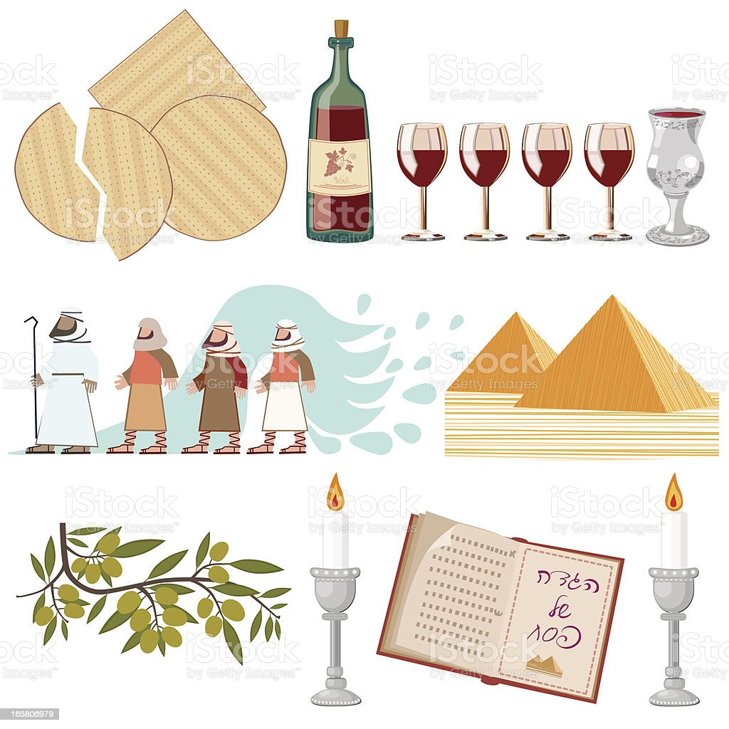 Pesach Symbols Collection vector art illustration
