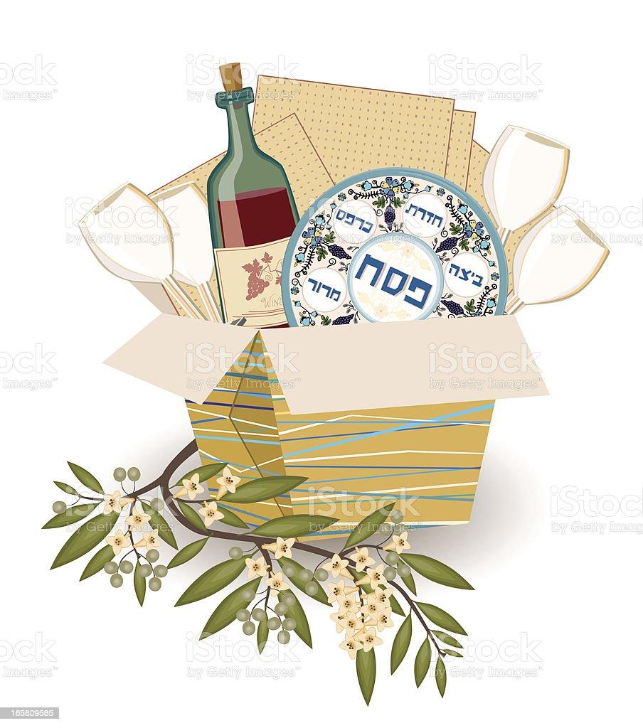 Pesach Symbols With Olive Branch vector art illustration