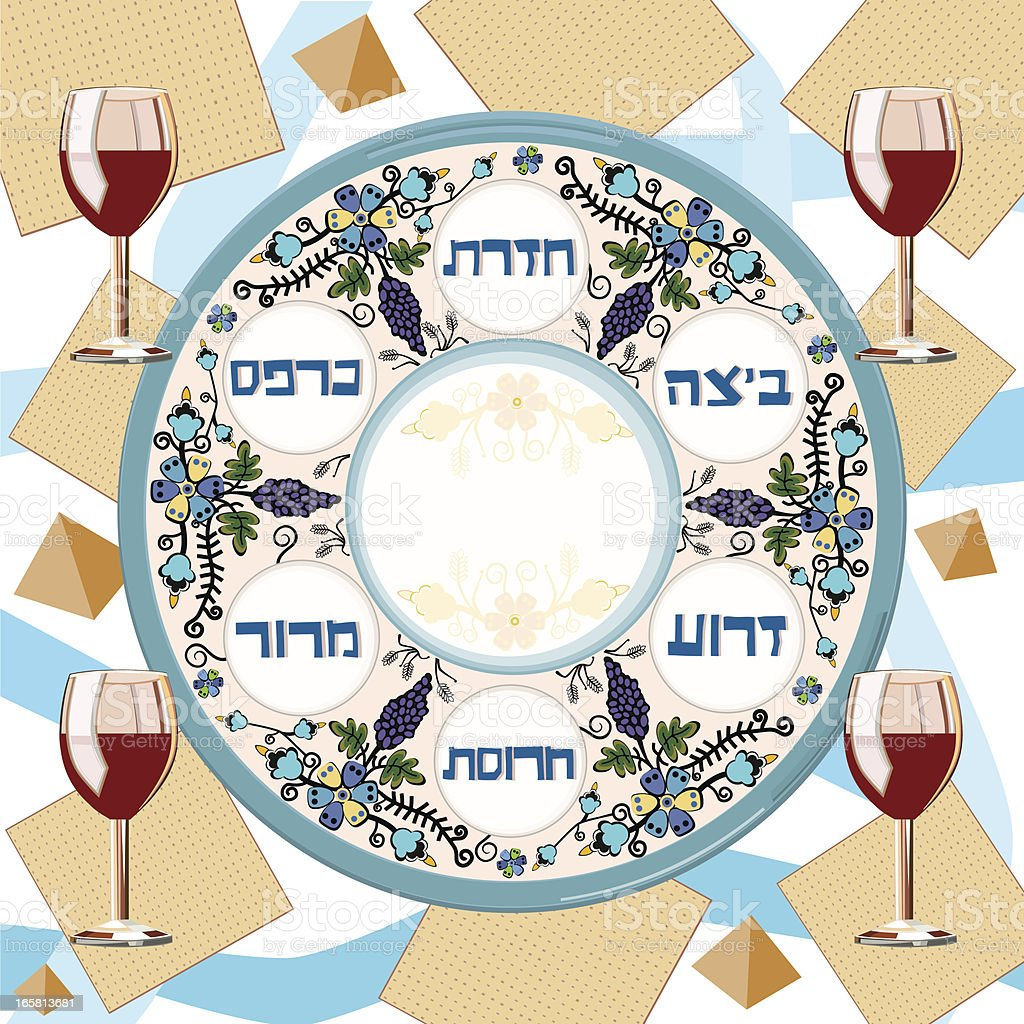 Pesach Traditional Plate, Matzoh and Four Glasses of Wine vector art illustration