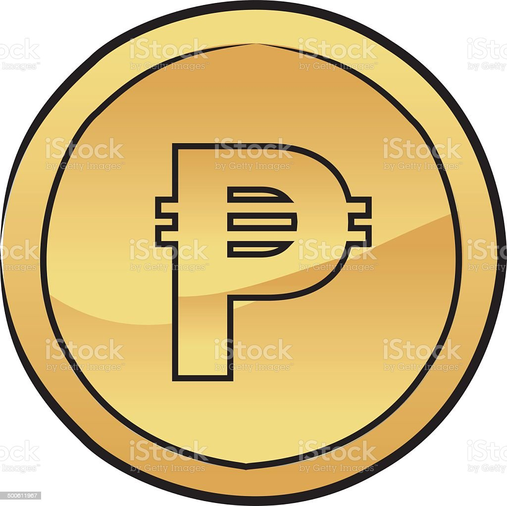Peso coin vector icon vector art illustration