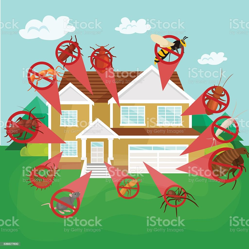 Pest control concept with insects exterminator silhouette flat vector illustration vector art illustration