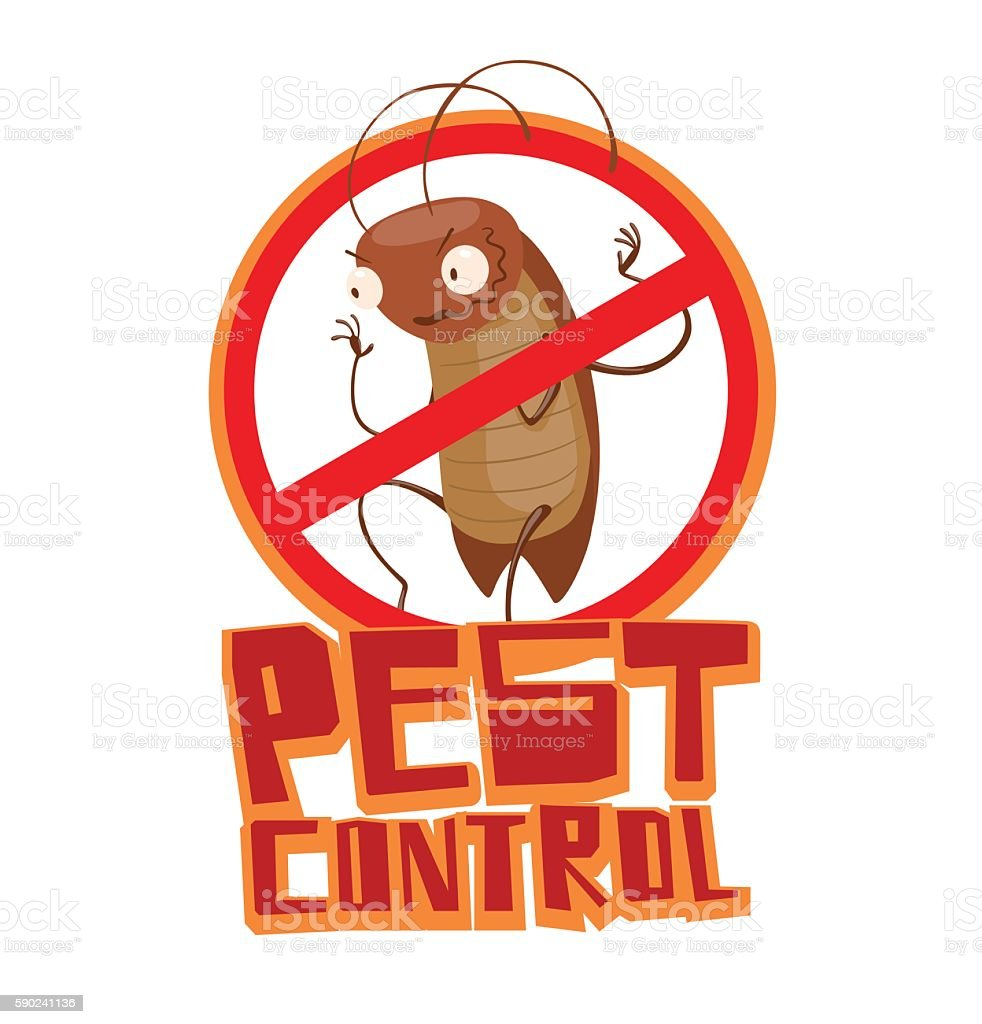 Pest control, funny brown cockroach sneaking somewhere vector art illustration