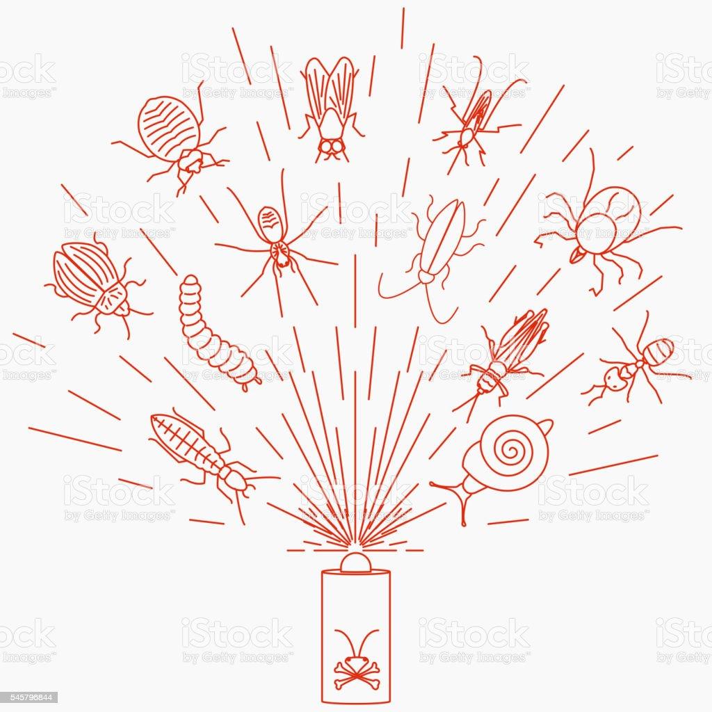 Pest control insecticide aerosol spray vector art illustration