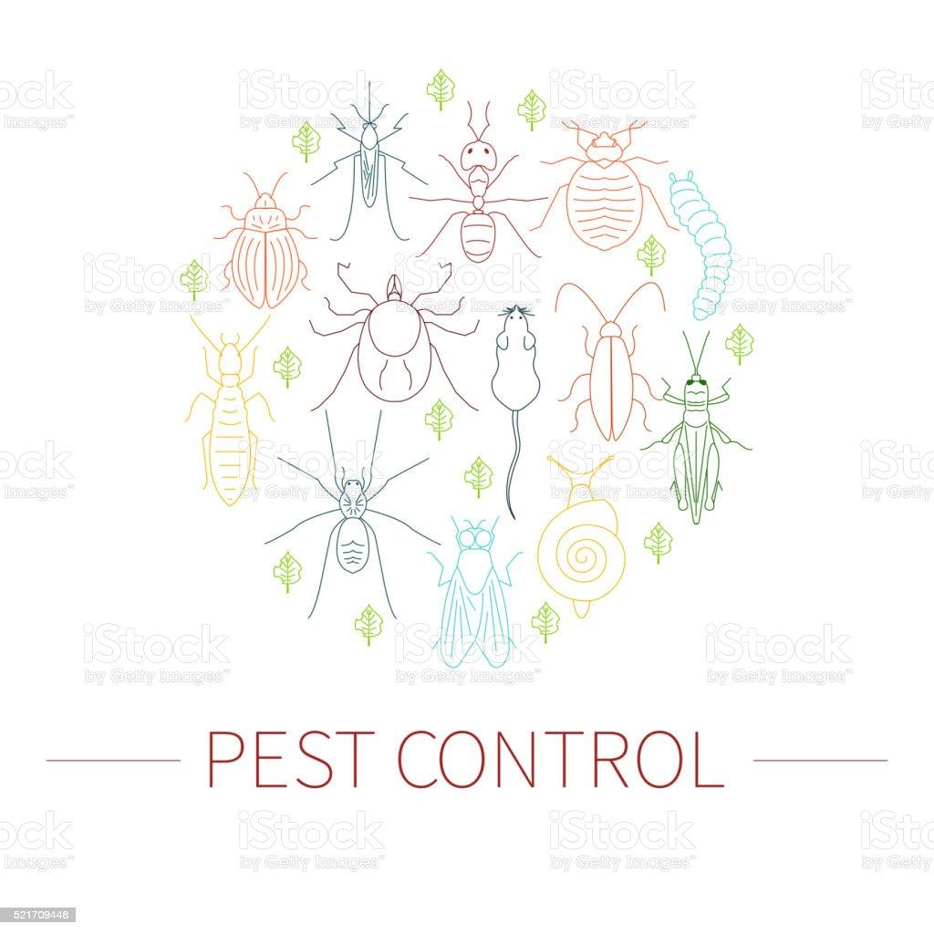 Pest control linear set vector art illustration