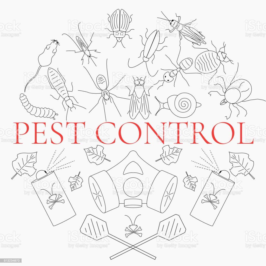 Pest control set vector art illustration