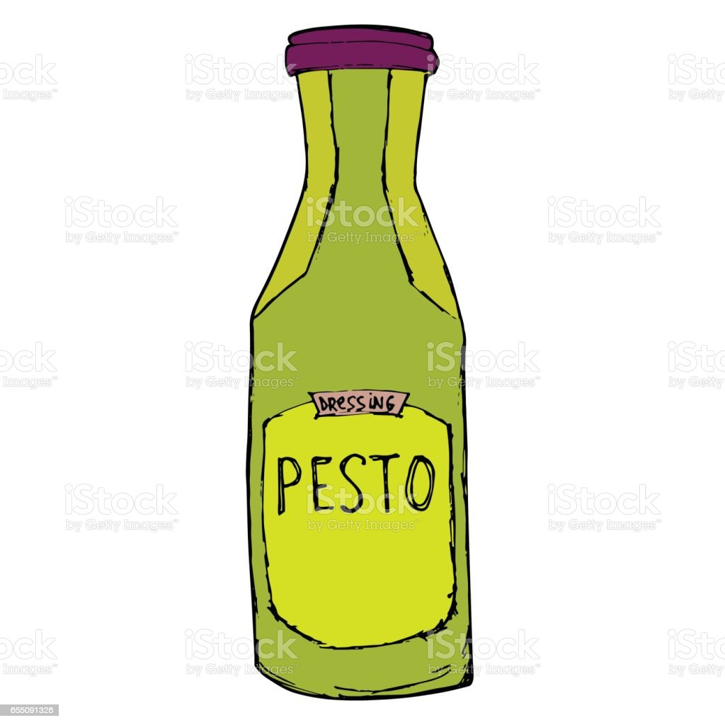 Pesto jar. Hand drawn sketch illustration. Pesto bottle Isolated on white. vector art illustration