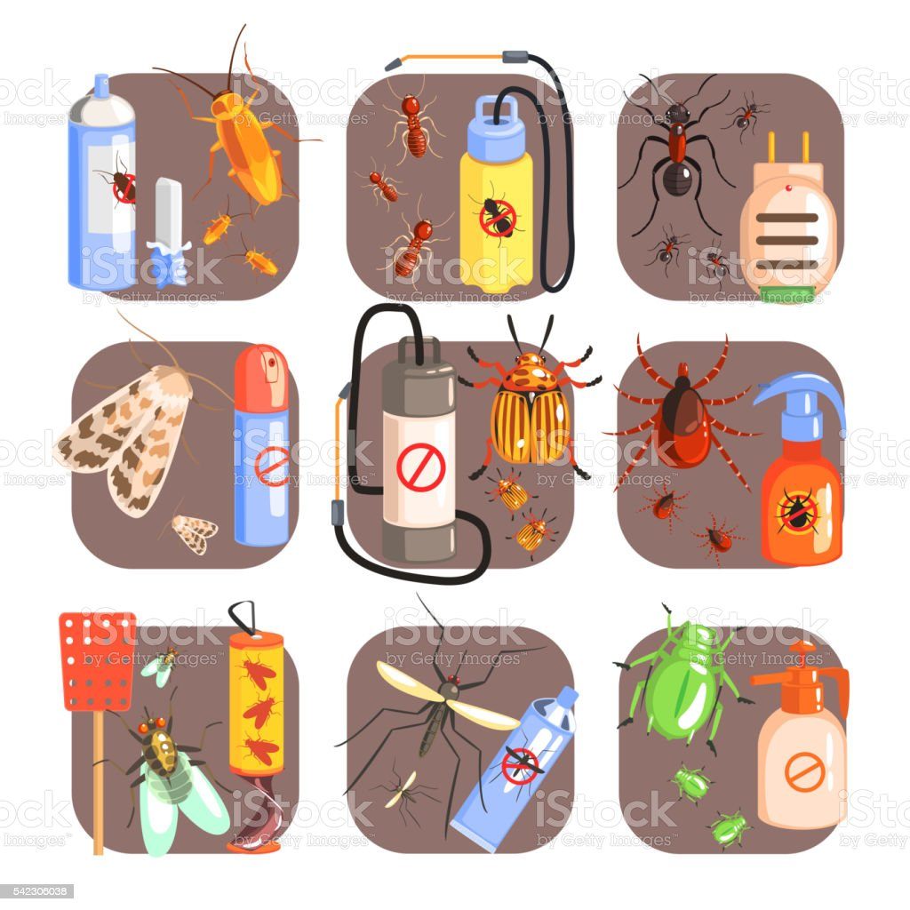 Pests And Measures For Their Extermination Set vector art illustration