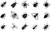 Pests and various insects set vector icons