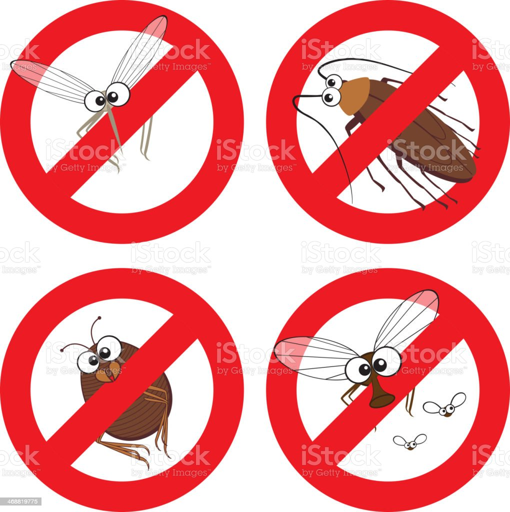 Pests in Stop Sign royalty-free stock vector art