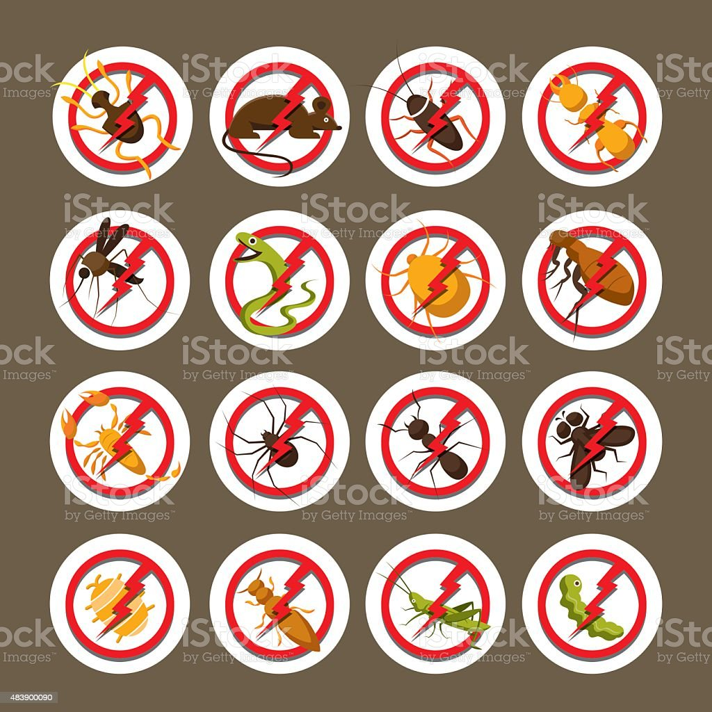 Pests, Insects, Bugs, Prohibition and Repellent Signs vector art illustration