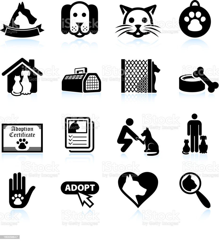 Pet Adoption black and white royalty free vector icon set vector art illustration