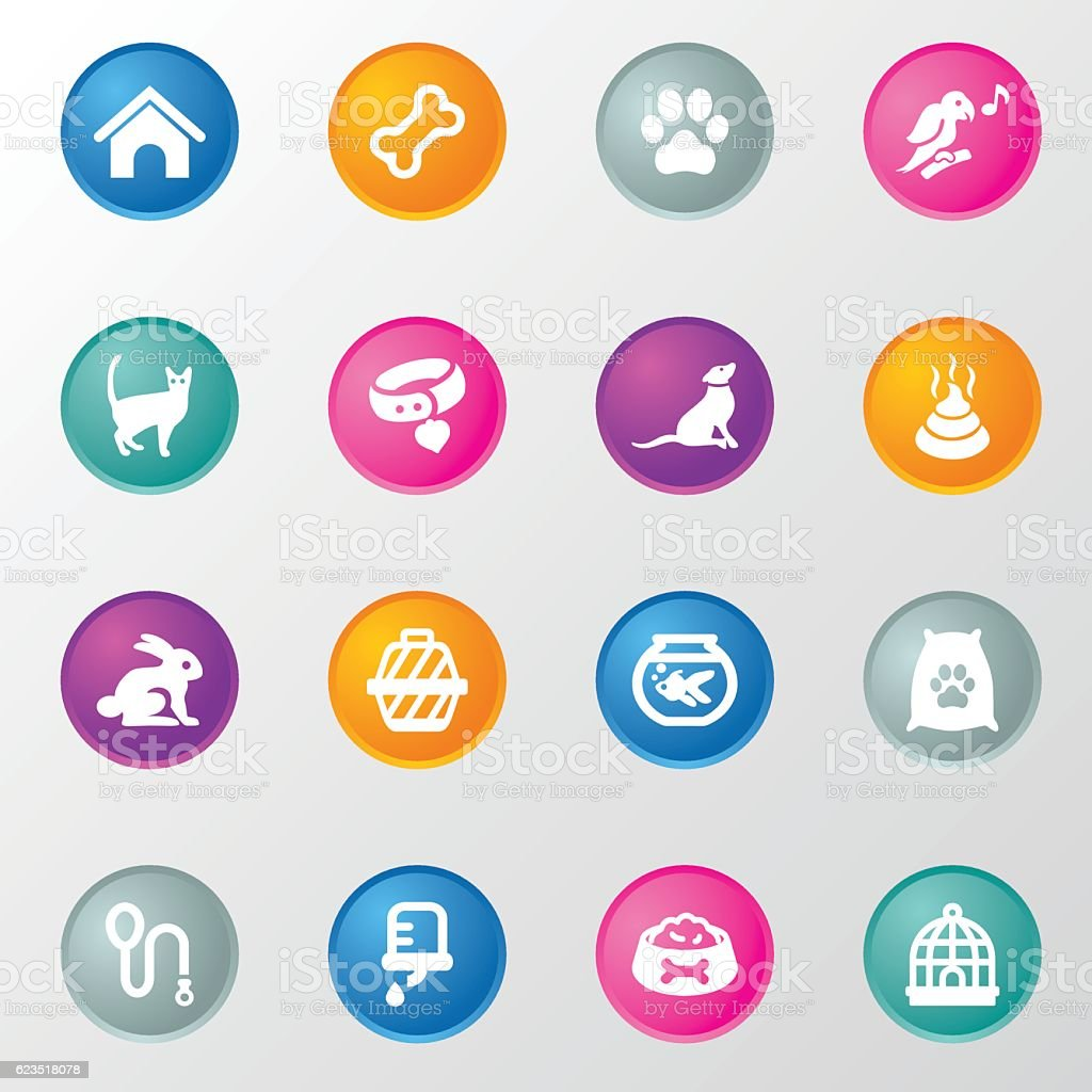 Pet & Animal Circle Color Icons vector art illustration