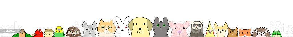 Pet animals banner vector art illustration