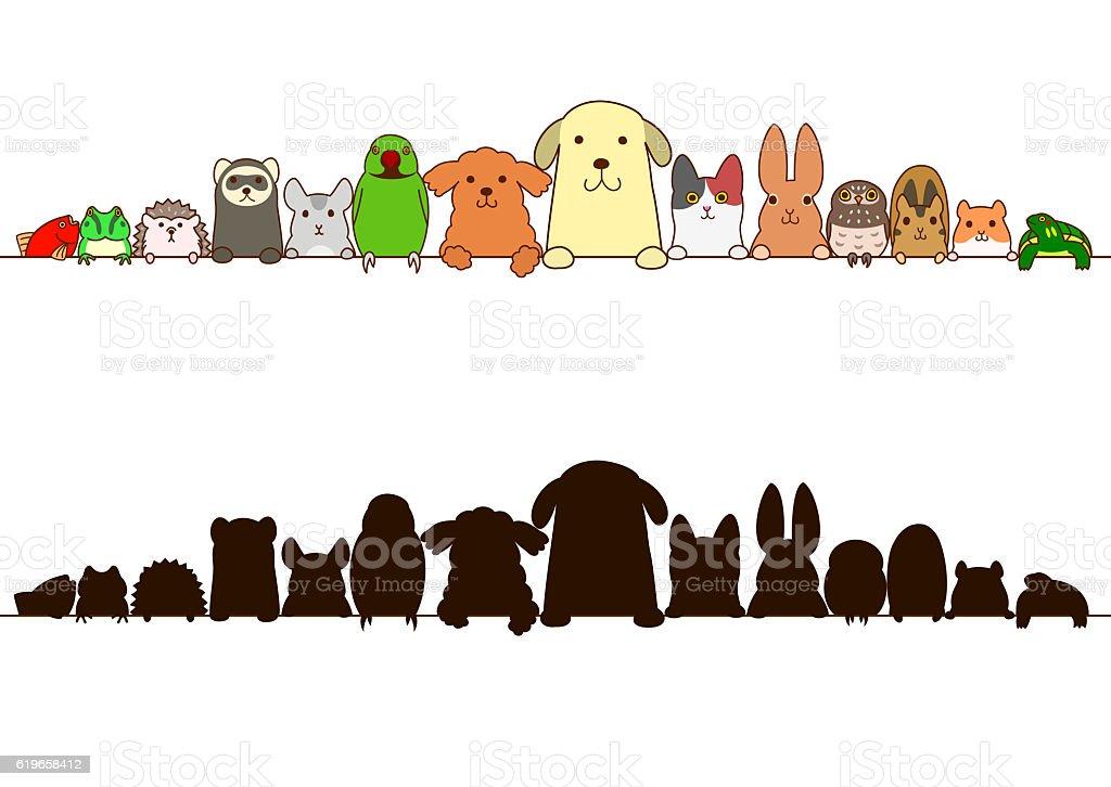 pet animals border with silhouette vector art illustration