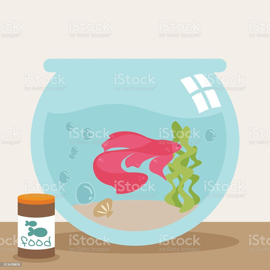Pet Betta Fish vector art illustration