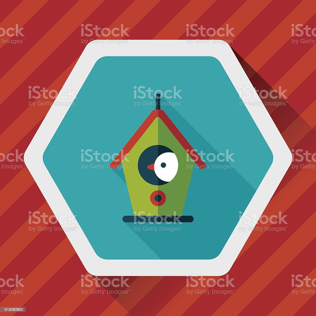 Pet bird house flat icon with long shadow,eps10 vector art illustration