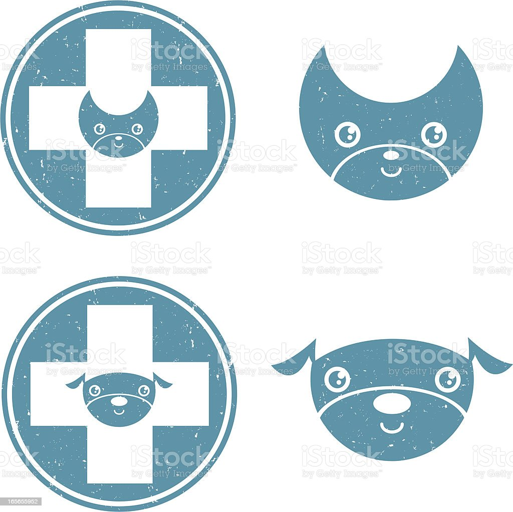 Pet Care Icons GRUNGE vector art illustration