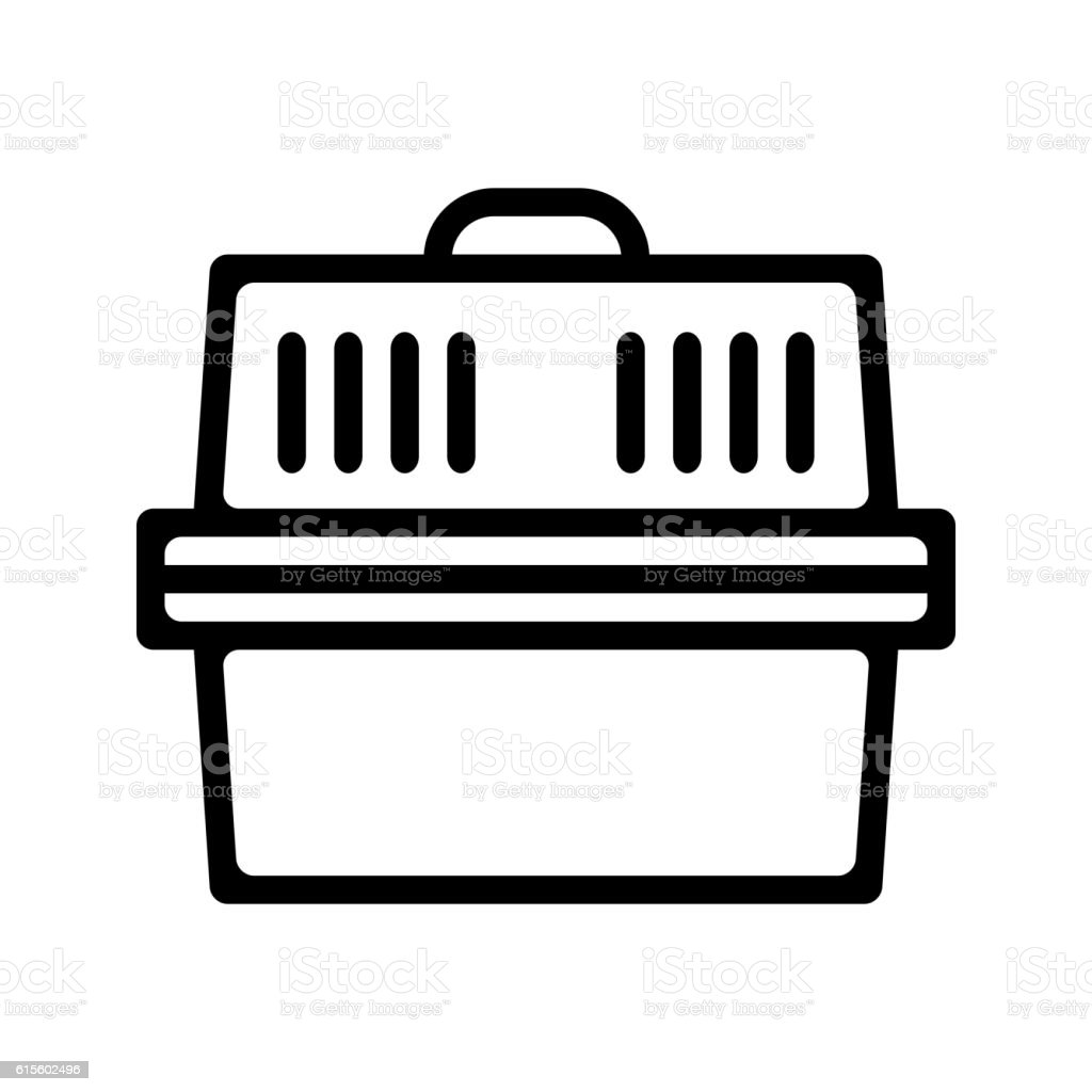 Pet carrier. Flat linear icon product for pets. vector art illustration