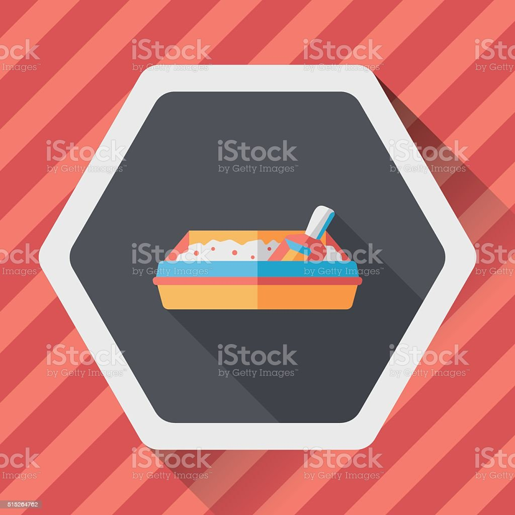 Pet cat litter box flat icon with long shadow, eps10 vector art illustration
