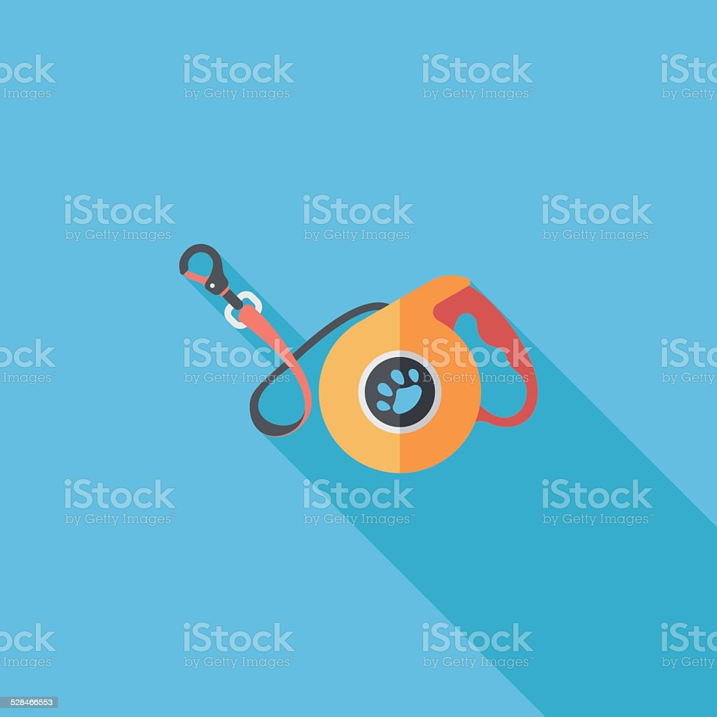 Pet dog lead flat icon with long shadow,eps10 vector art illustration