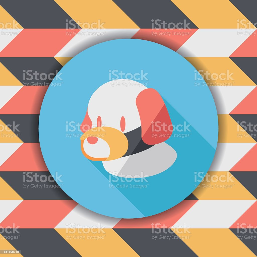 Pet dog mouth cover flat icon with long shadow,eps10 vector art illustration