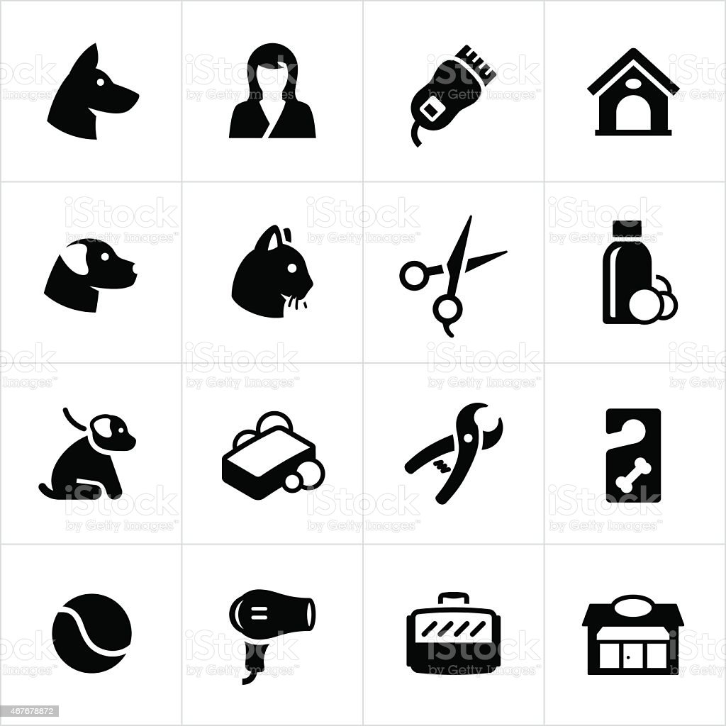 Pet Grooming and Boarding Icons vector art illustration
