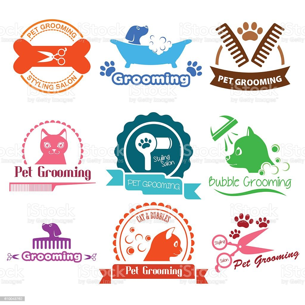 Pet Grooming Service Business Logos vector art illustration