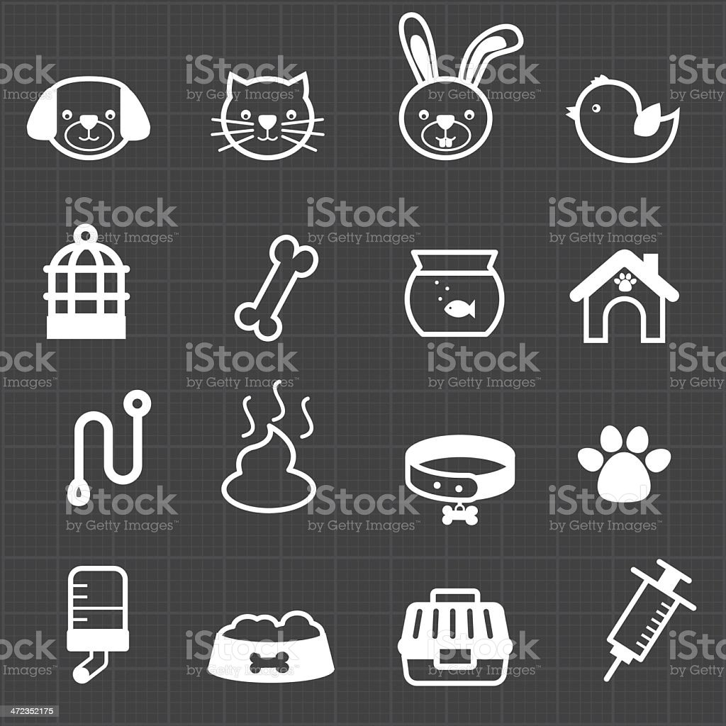 Pet icons and black background royalty-free stock vector art