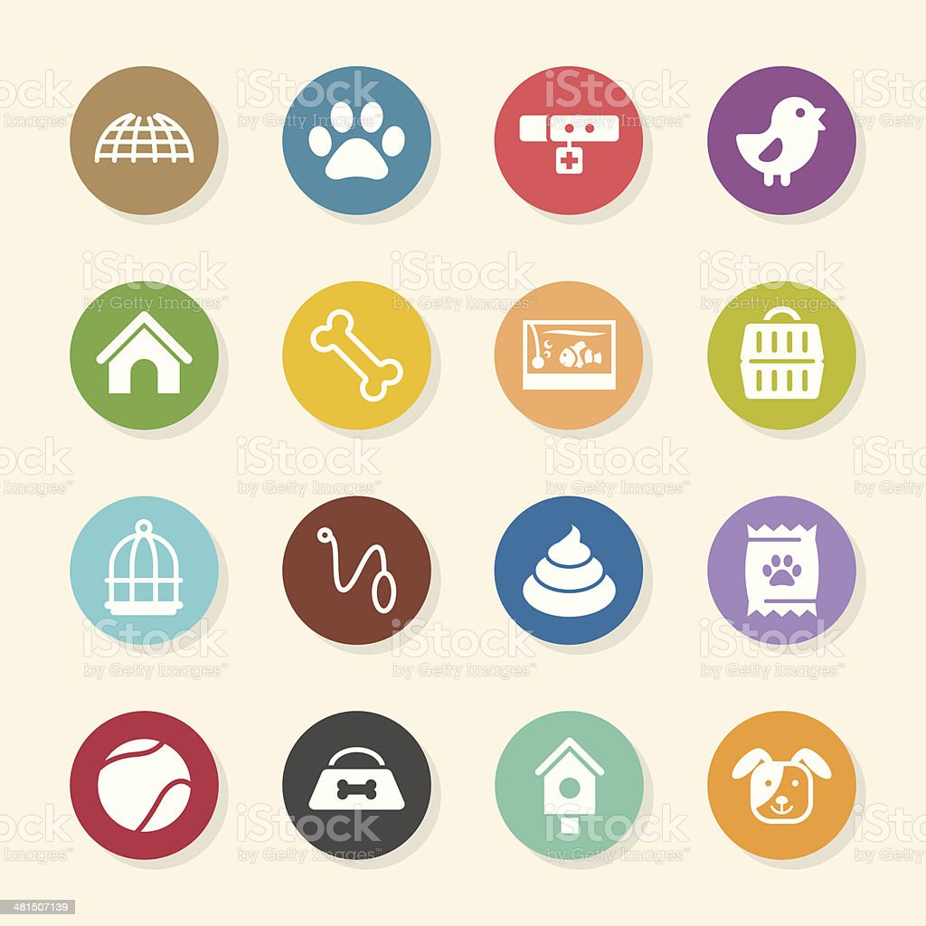 Pet Icons - Color Circle Series vector art illustration
