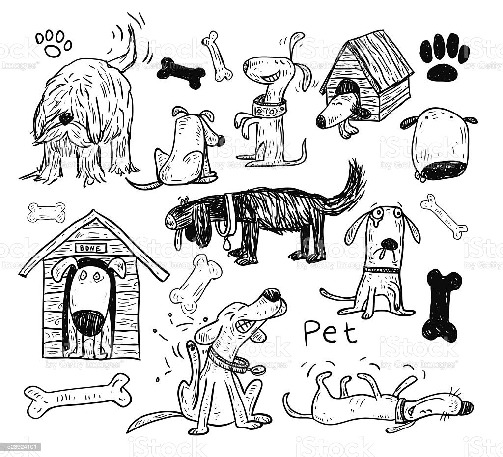 Pet icons doodle set, vector illustration. vector art illustration