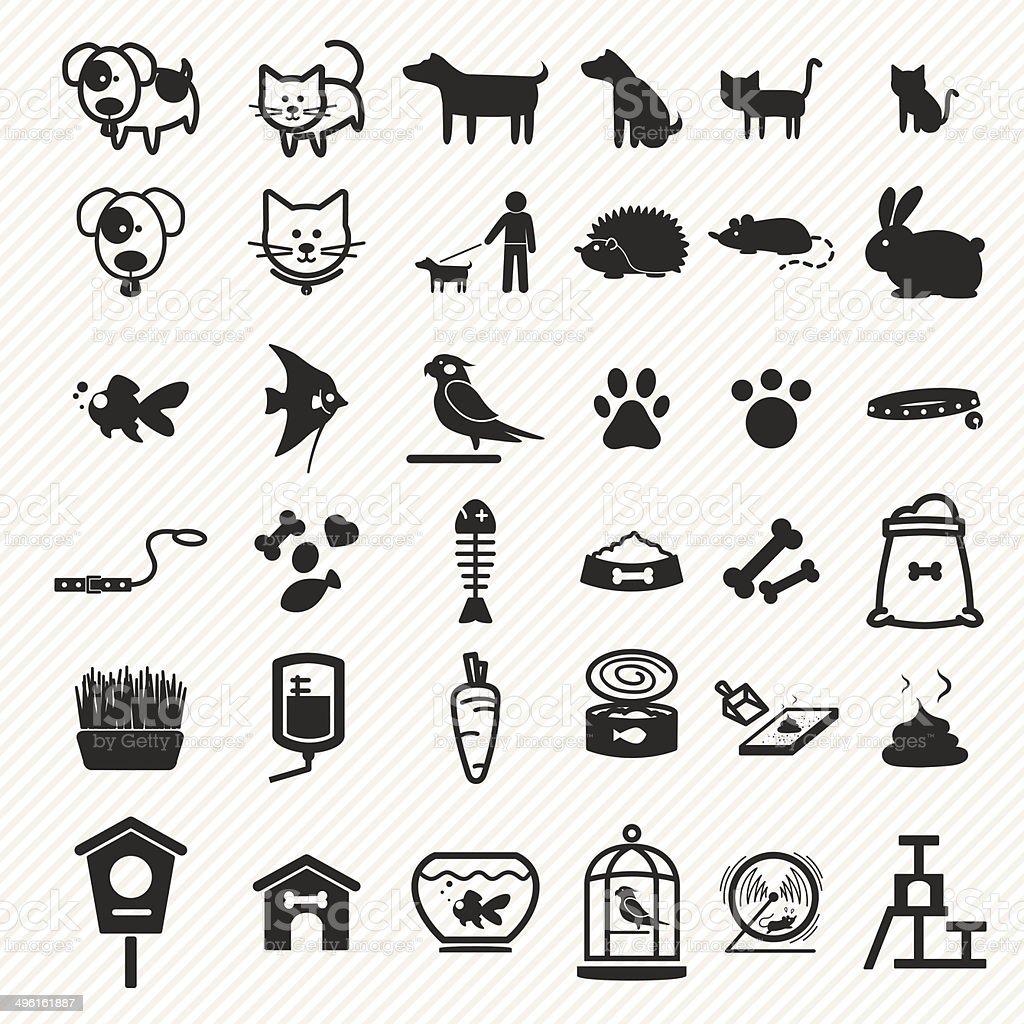 Pet icons set. vector art illustration