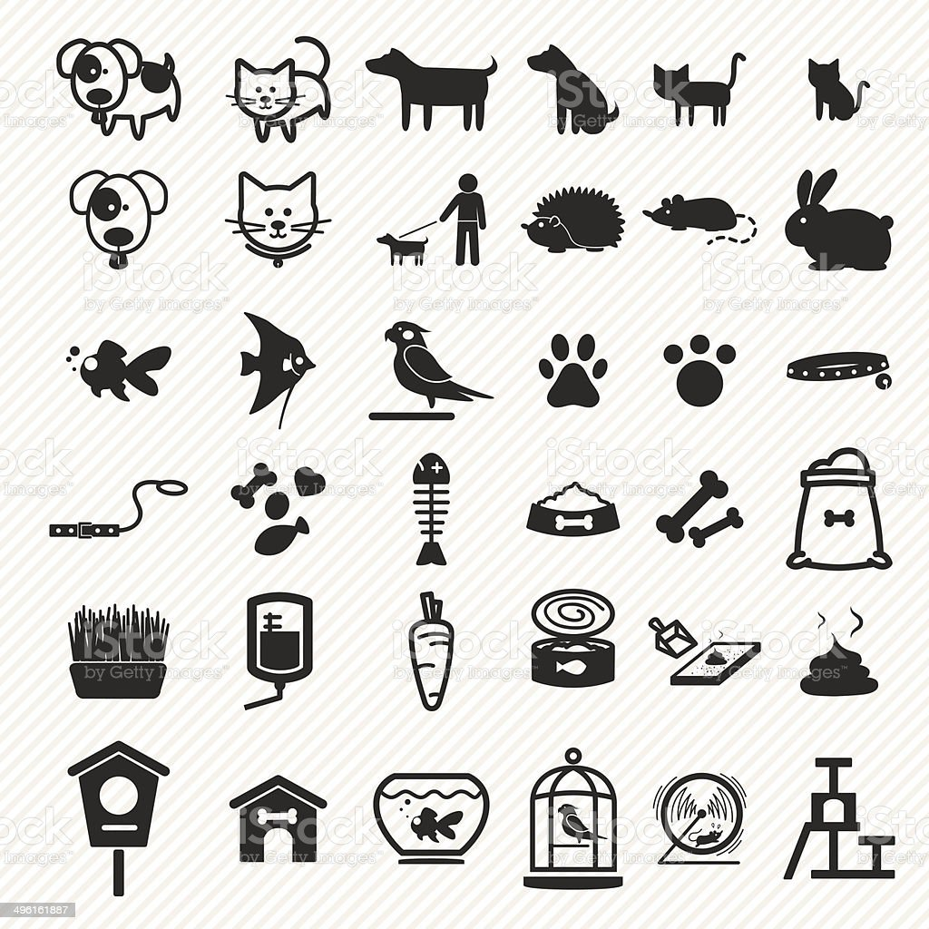 Pet icons set. vector art illustration