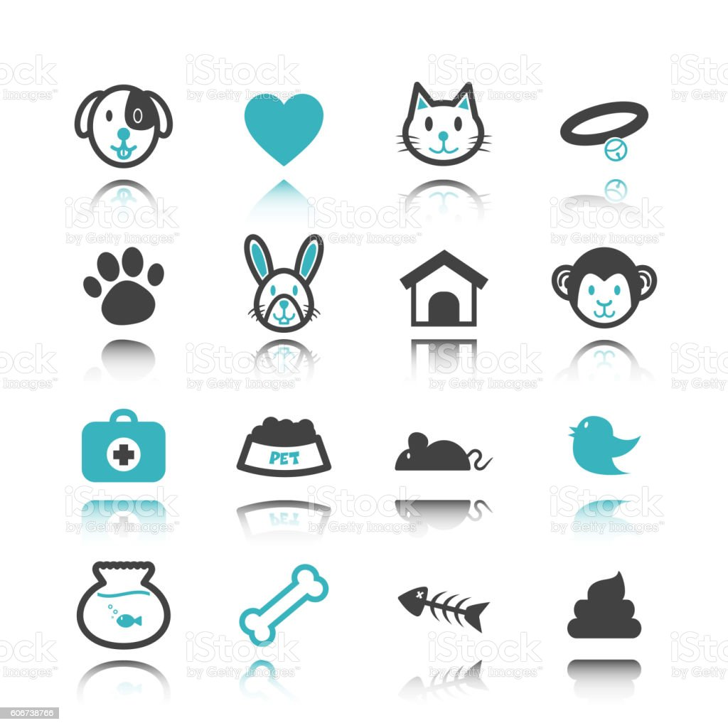 pet icons with reflection vector art illustration