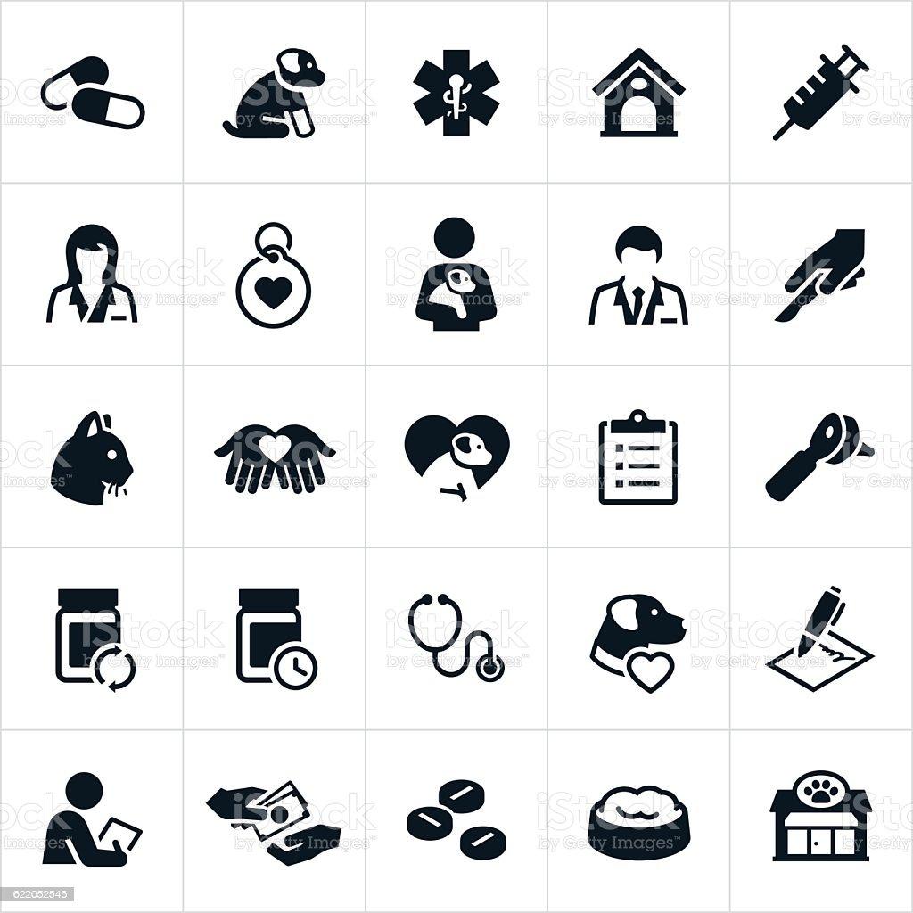 Pet Insurance Icons vector art illustration